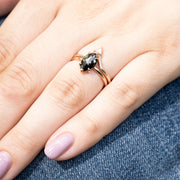 Black Marquise Diamond Engagement Ring