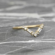 Round & Baguette Diamond V Band, Large Paloma Setting, 14K Yellow Gold