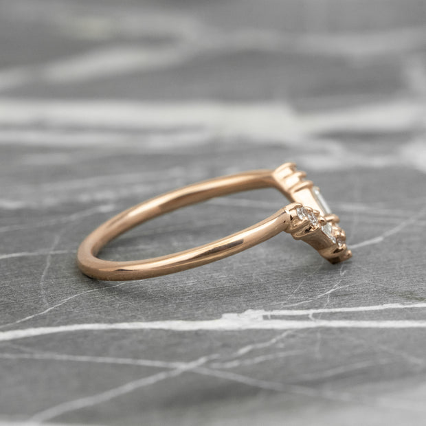 Round & Baguette Diamond V Band, Large Paloma Setting, 14K Rose Gold
