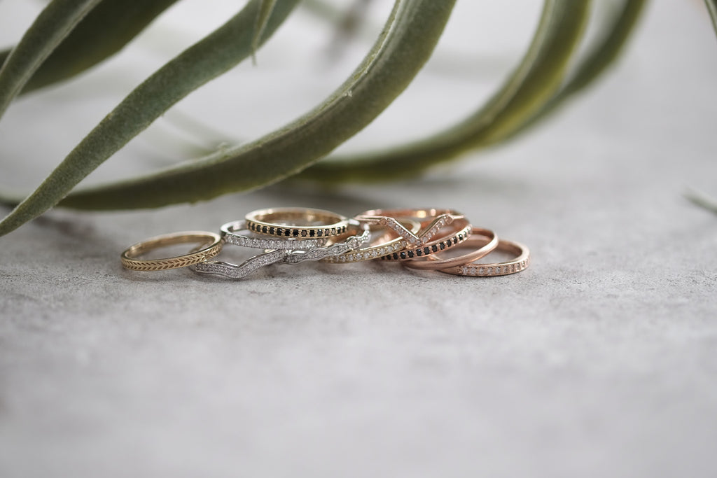Eco Friendly Chevron Wedding Band, 14K Rose Gold