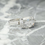 Icy White Oval Rose Cut Diamond Engagement Ring