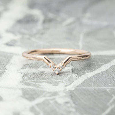 Triple Diamond Petite Quinn Wedding Band, 14k Rose Gold