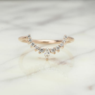 Diamond Basket Contour Band, X-Large Etta Setting, 14k Rose Gold