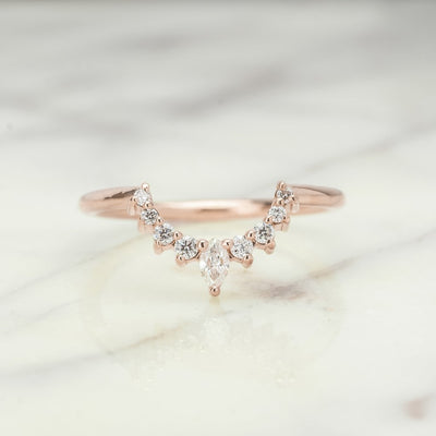 Diamond Basket Contour Band, Large Etta Setting, 14K Rose Gold