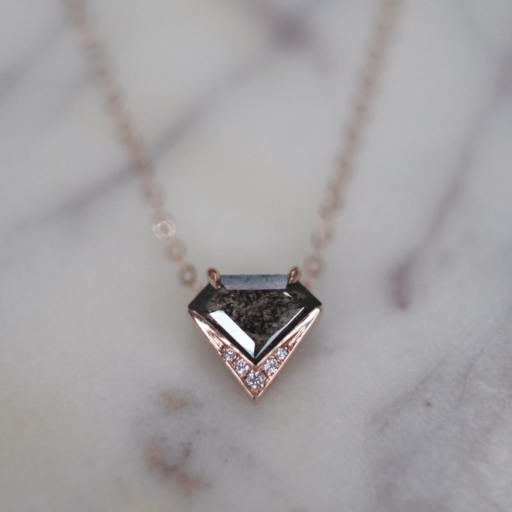 Geometric Shield V pendant 14k Rose Gold