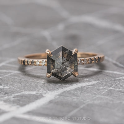 1.69 Carat Black Speckled Hexagon Diamond Engagement Ring, Ombre Jules Setting, 14K Rose Gold
