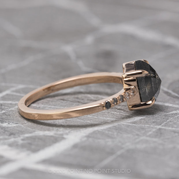 1.93 Carat Black Speckled Hexagon Diamond Engagement Ring, Ombre Jules Setting, 14K RoseGold