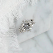 1.93 Carat Black Speckled Hexagon Diamond Engagement Ring, Ombre Jules Setting, 14K White Gold