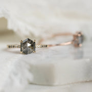 1.93 Carat Black Speckled Hexagon Diamond Engagement Ring, Ombre Jules Setting, 14K Yellow Gold