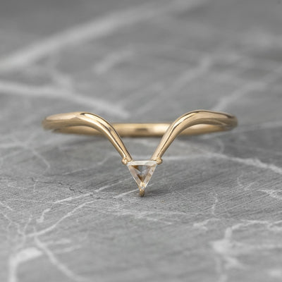Triangle Diamond Wedding Band, Victoria Setting, 14K Yellow Gold