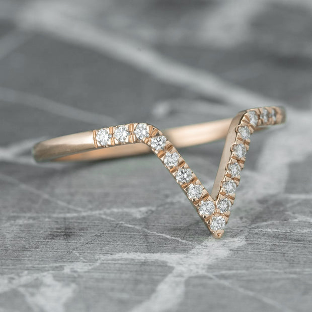 Large Diamond Chevron Band, 14K Rose Gold