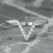 Diamond V Wedding Band, Large Chevron Band, 14K White Gold