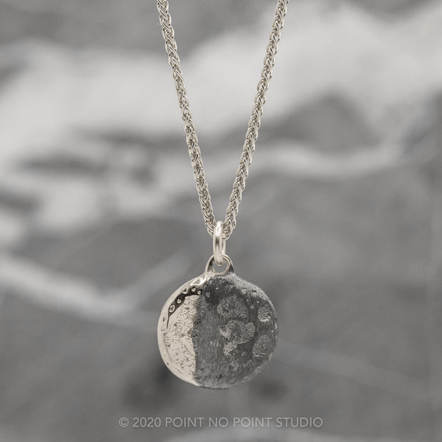 Moon Phase with No Stones White Gold