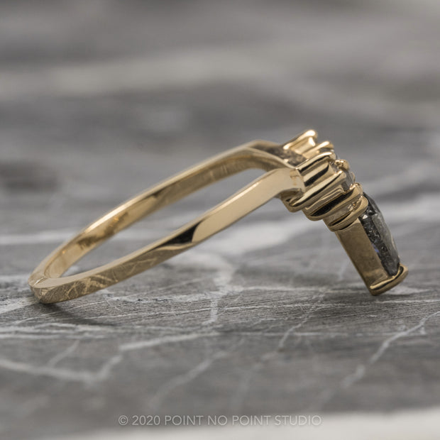 Salt & Pepper Rose Cut Diamond Wedding Band, Cassiopeia Setting, 14 Yellow Gold
