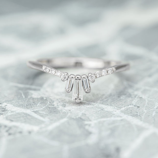 White Diamond Baguette Dawn Wedding Band, 14k White Gold