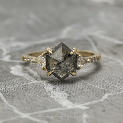 2.48 Carat Black Speckled Hexagon Diamond Engagement Ring, Eliza Setting, 14K Yellow Gold