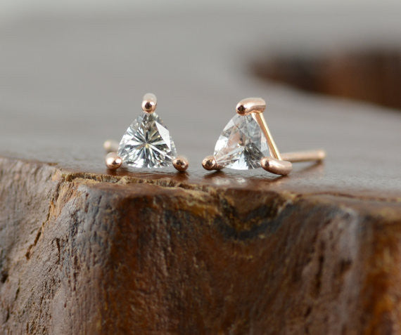 14k Rose Gold Sapphire Triangle Studs - Point No Point Studio - 2