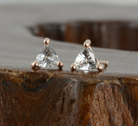 14k Rose Gold Sapphire Triangle Studs - Point No Point Studio - 1