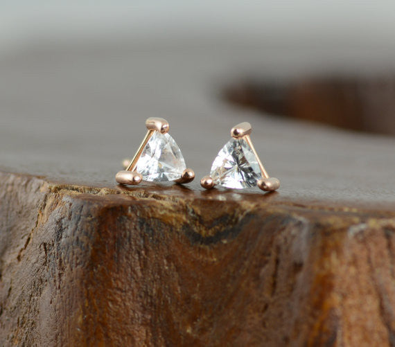 14k Rose Gold Sapphire Triangle Studs - Point No Point Studio - 3