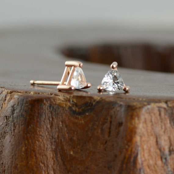 14k Rose Gold Sapphire Triangle Studs - Point No Point Studio - 4