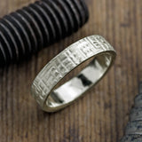 6mm 14k White Gold Mens Wedding Band, Textured Matte - Point No Point Studio - 1