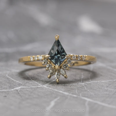 Custom kite sapphire engagement ring
