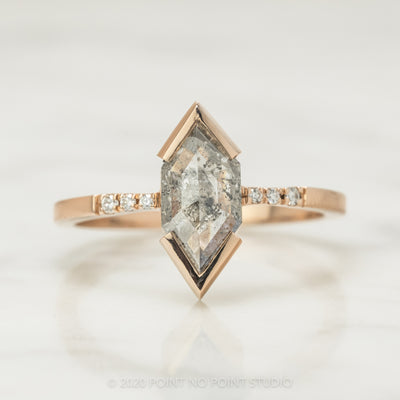 1.20 Carat Salt & Pepper Hexagon Diamond Engagement Ring, Tapered Sirena Setting, 14K Rose Gold