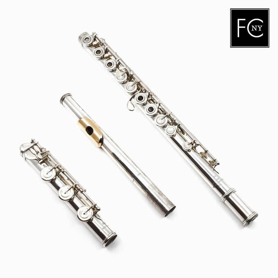 Almeida Flute #212 -  all silver, inline G, 14K gold lip plate and riser, B footjoint