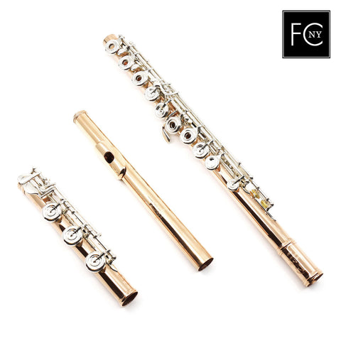 "Lillian Burkart ""Elite Model"" Flute in 14K Gold with Silver Keys and 14K Tone Holes (New)"