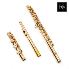 Mateki Handmade Custom Flute #2100 - all 14K gold, half offset G, split E mechanism, D# roller, B footjoint, no headjoint