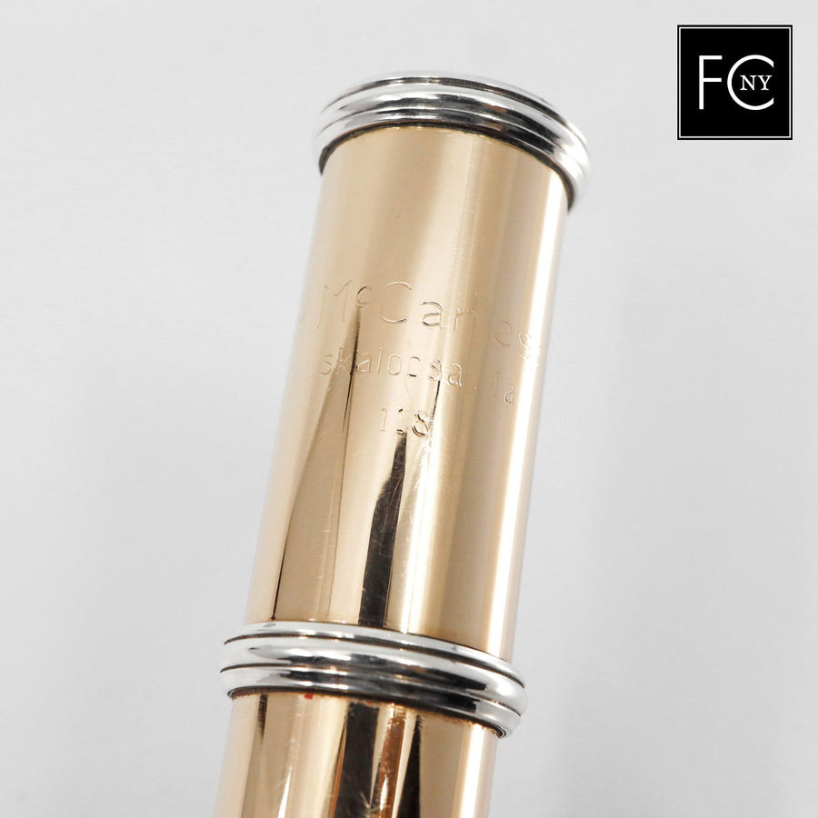 McCanless Handmade Flute #118 - 10K Gold Flute,  inline G, C# trill key, B and C footjoint,  engraved lip plate