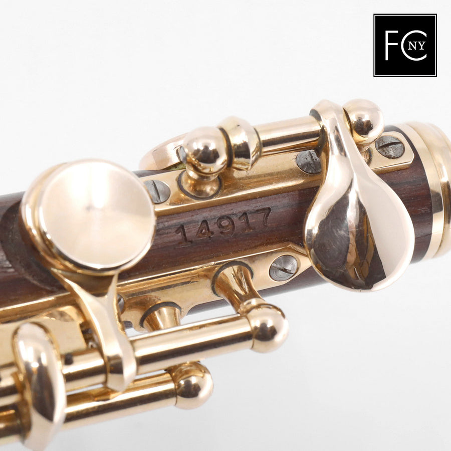 Powell Piccolo #14917 - aged kingwood body, 14K rose gold mechanism