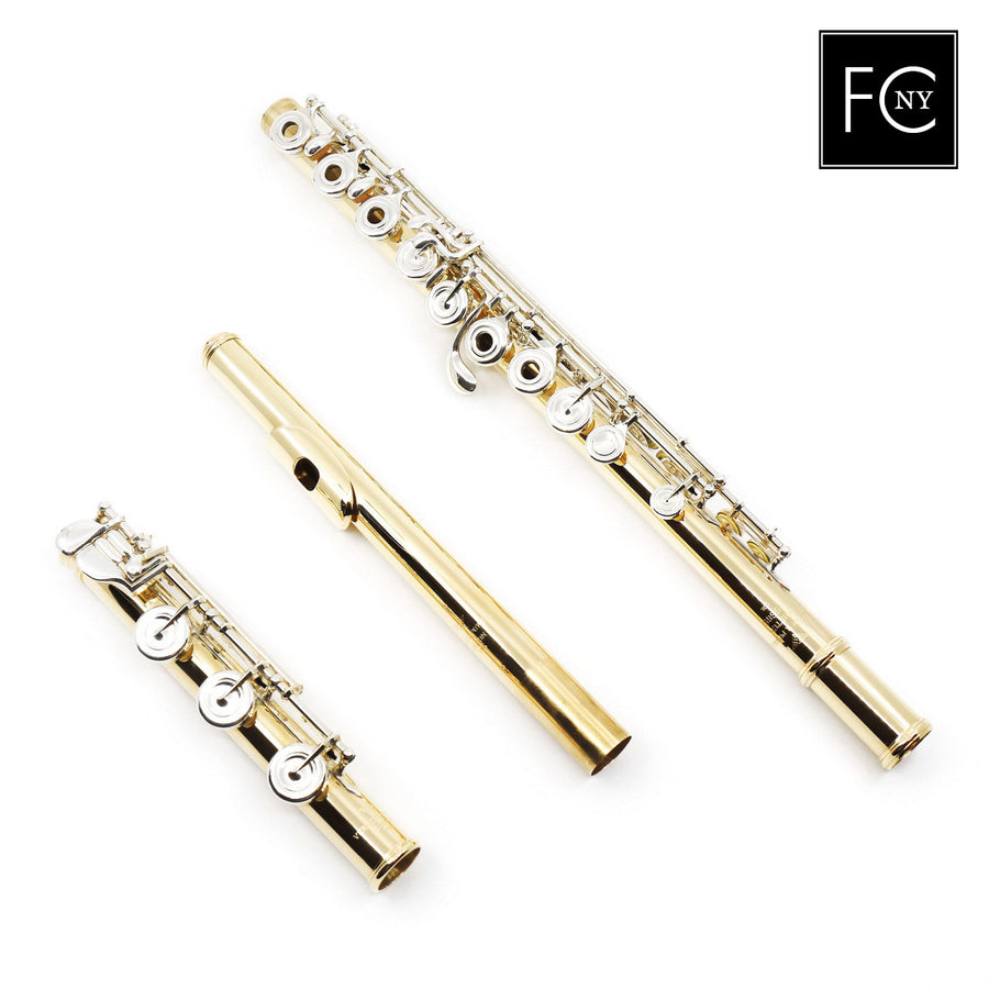 Verne Q. Powell Handmade Custom Flute in 10K Yellow Gold with Silver Mechanism (New)