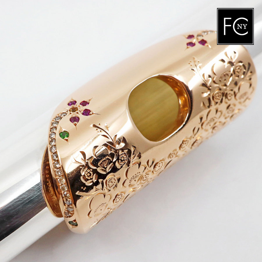 Song Headjoint #S036 - pure silver, 14K gold lip plate, riser and crown, diamond enhancements