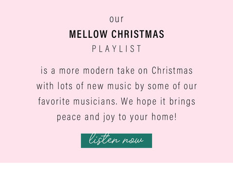 Our mellow Christmas playlist is a more modern take on Christmas with lots of new music by some of our favorite musicians. We hope it brings peace and joy to your home.