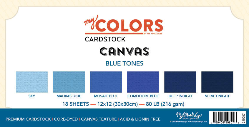 My Colors Canvas Blue Tones 18 Sheet Variety Pack