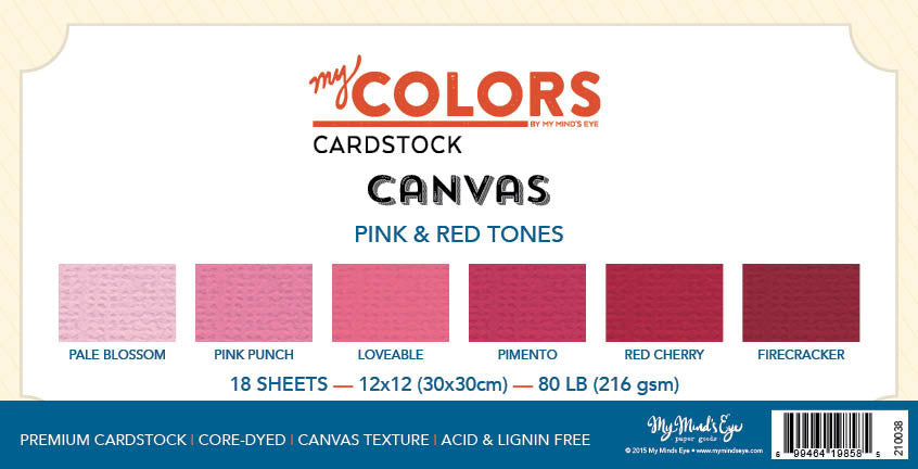 My Colors Canvas Pink & Red Tones 18 Sheet Variety Pack