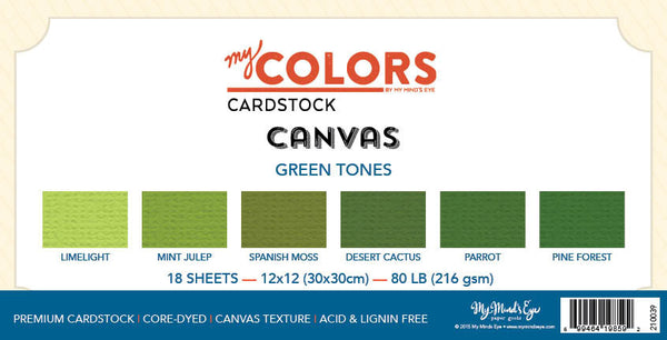 My Colors Canvas Green Tones 18 Sheet Variety Pack