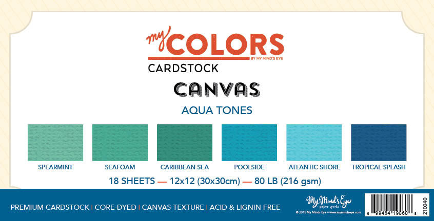 My Colors Canvas Aqua Tones 18 Sheet Variety Pack
