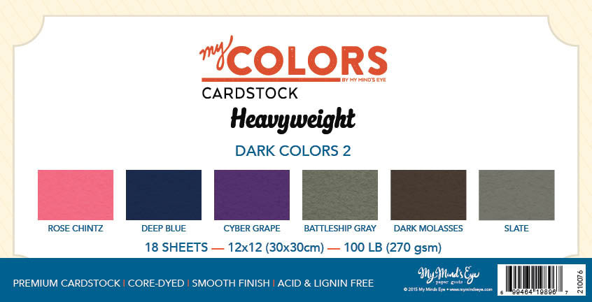 My Colors Heavyweight Dark Colors 2 18 Sheet Variety Pack - My Mind's Eye Paper Goods