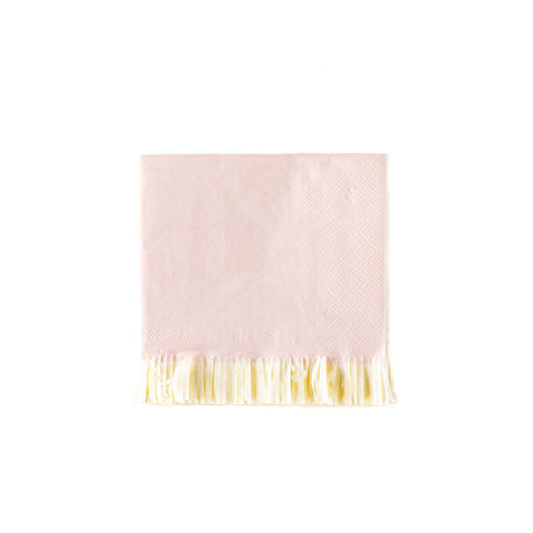 Baby Pink Fringed Cocktail Napkins
