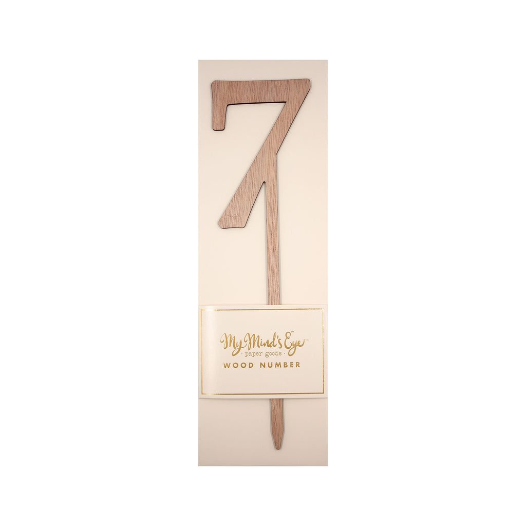 Botanical Wood Number 7 Cake Topper