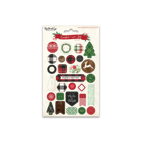 Comfort & Joy Chipboard Buttons