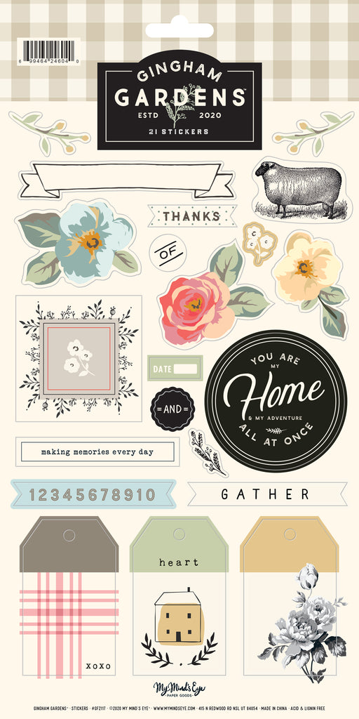 Gingham Gardens 6 x12 Sticker Sheet