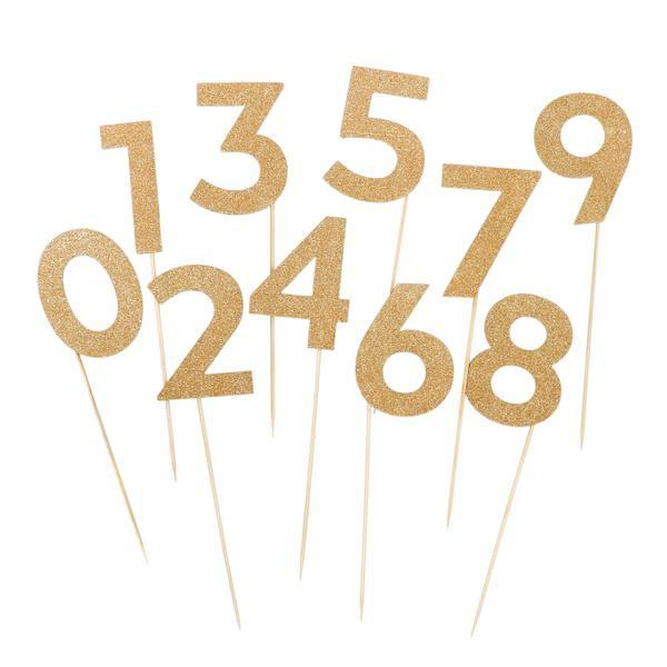 Basic Gold Glitter Numbers (0-9)