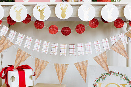 Holiday Mini Tag Banner - Plaid