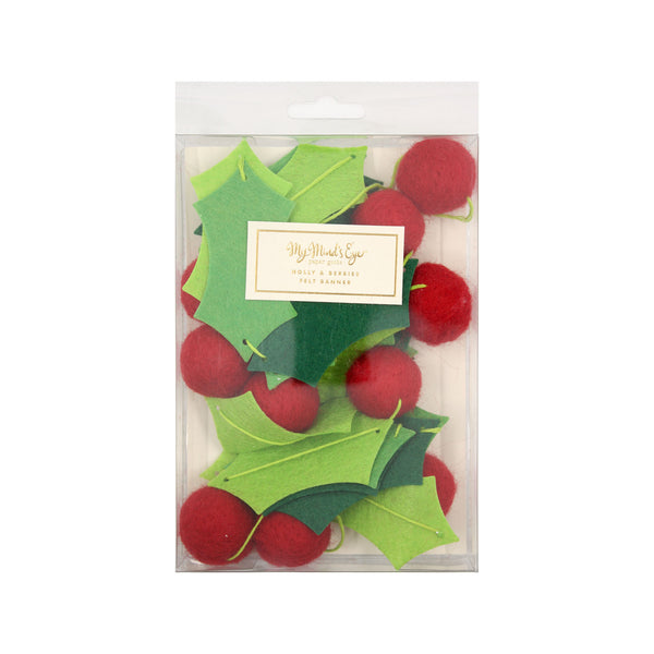 Holiday Holly and Berries Felt Banner Packaging