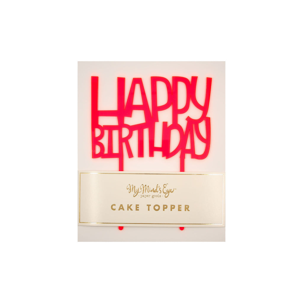 Neon Happy Birthday Cake Topper My Minds Eye Paper Goods