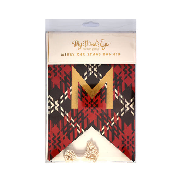 Plaid Merry Christmas Banner