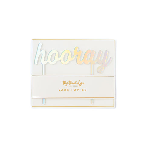 Basic Holographic Hooray Cake Topper